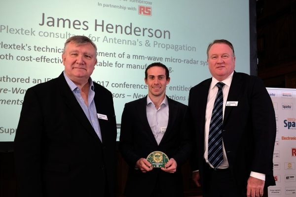 "Plextek Consultant, James Henderson awarded ""BrightSparks, Design Engineers of Tomorrow"" by Electronics Weekly"