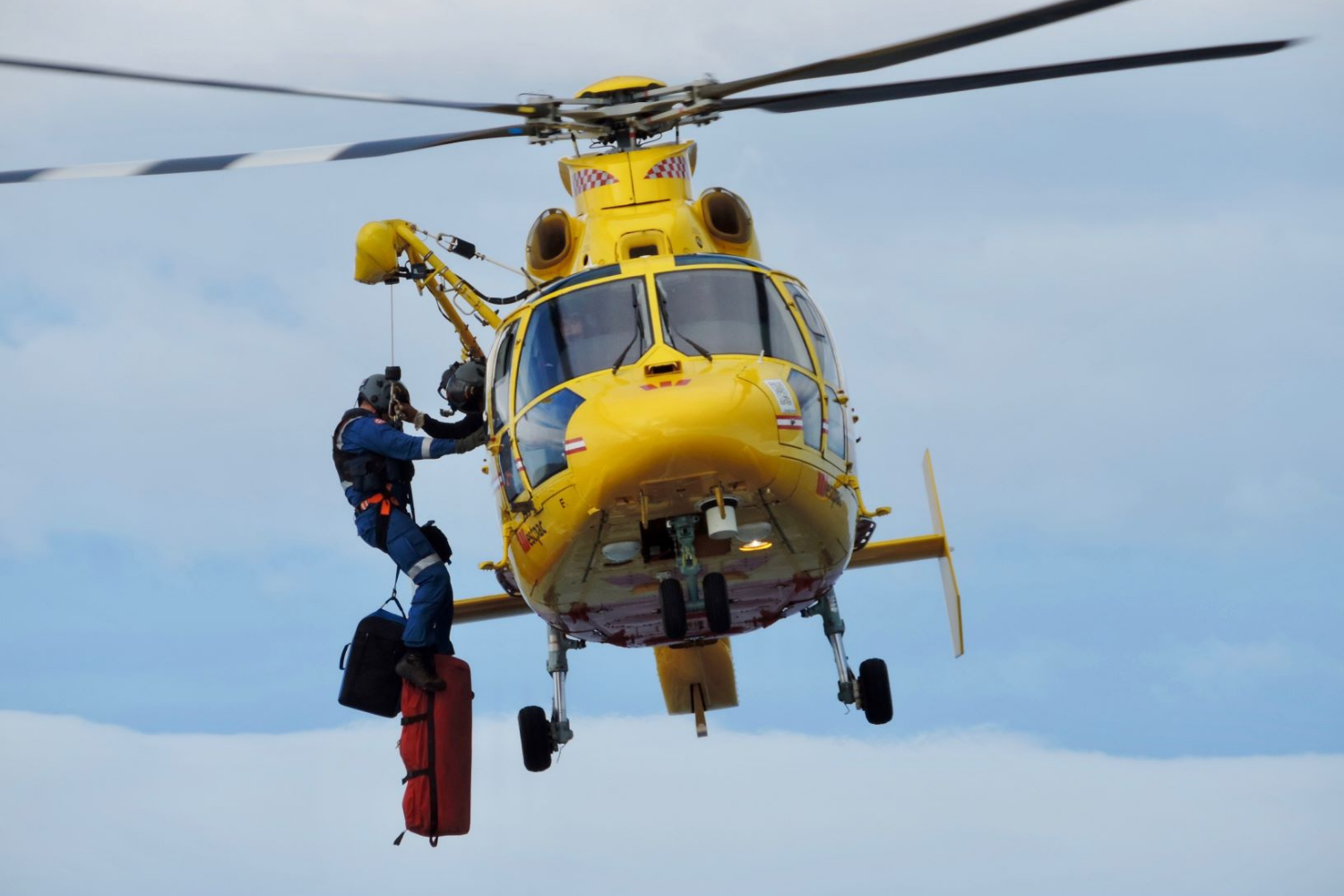 emergency services helicopter using radio