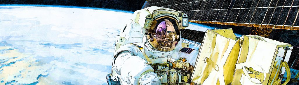 astronaut sketched