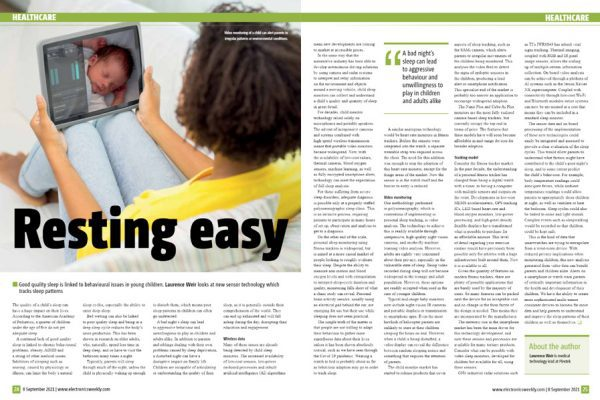 Plextek Feature in Electronics Weekly on New Sensor Technology Which Tracks Sleep Patterns
